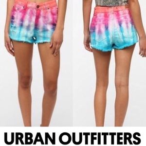 UO High Waisted Rise Cheeky Shorts by BDG Tie Dye